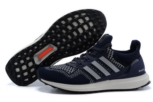 Mens Adidas Ultra Boost Deep Blue & Silver Low Price
