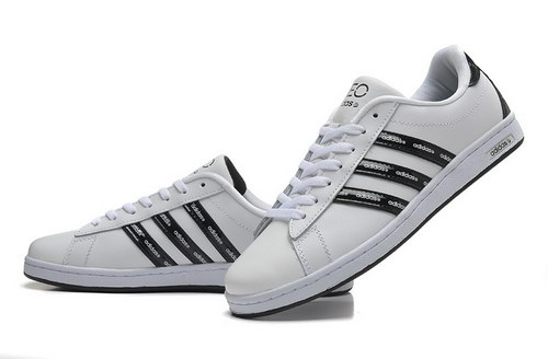 Mens Adidas Neo White Black Leather Italy