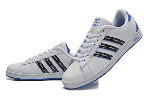 Mens Adidas Neo White Blue Leather Spain