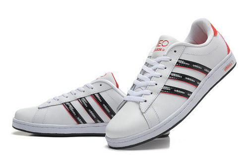 Mens Adidas Neo White Red Leather Closeout