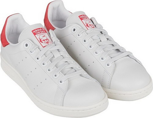 Womens Adidas Stan Smith White Red Closeout