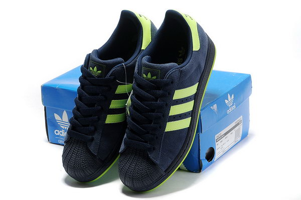 Adidas Superstar Mens & Womens (unisex) Dark Blue Fluorescent Green Closeout